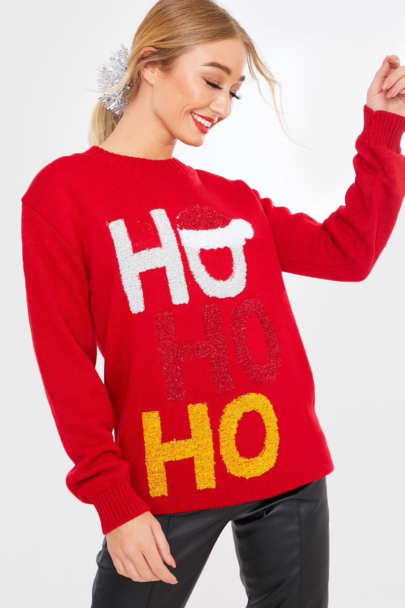 RED HO HO HO CHRISTMAS JUMPER