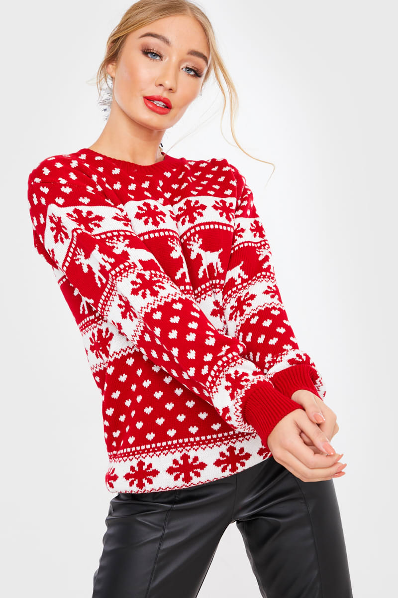 RED REINDEER FAIRISLE CHRISTMAS JUMPER
