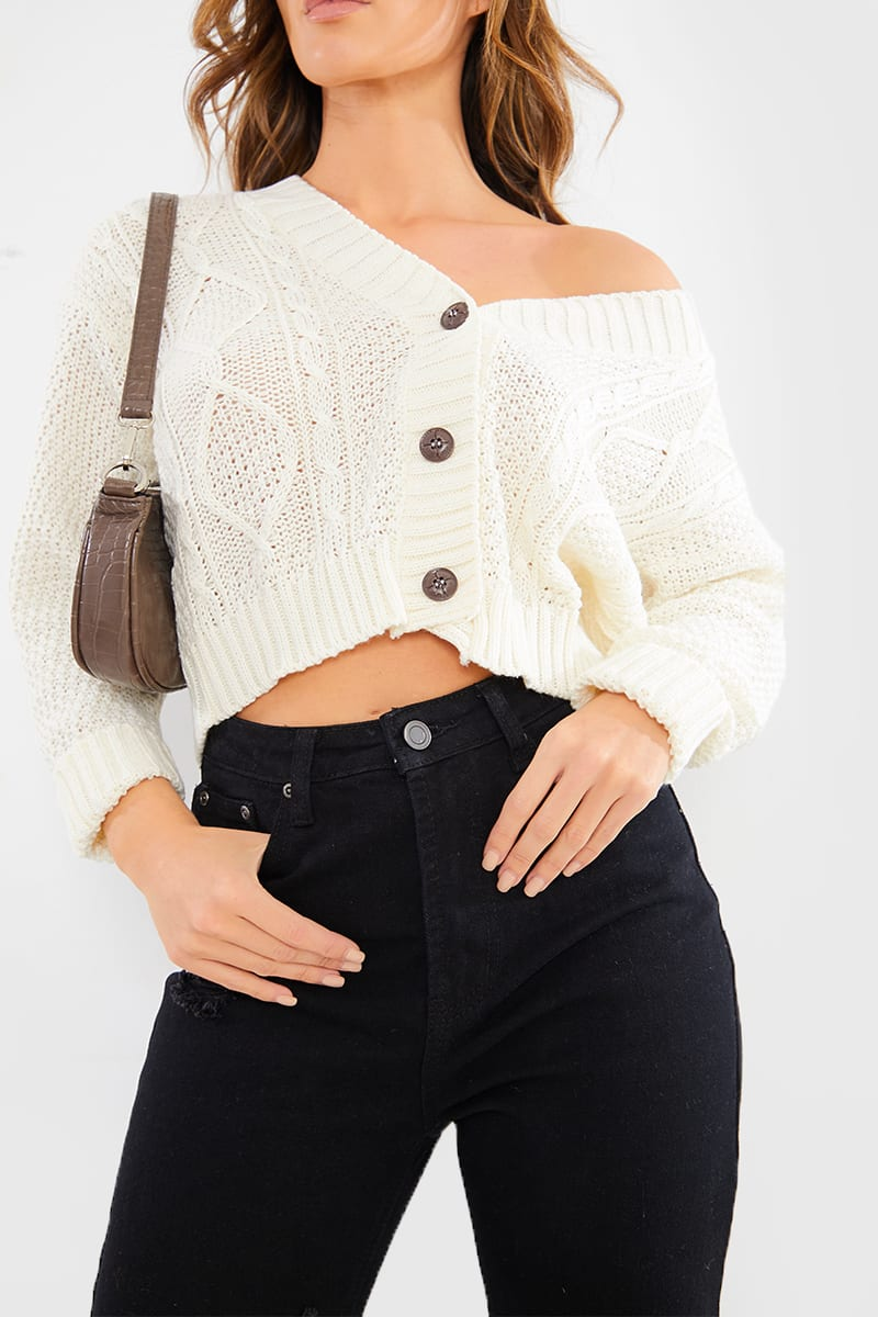 CREAM BOYFRIEND CABLE CROP CARDIGAN