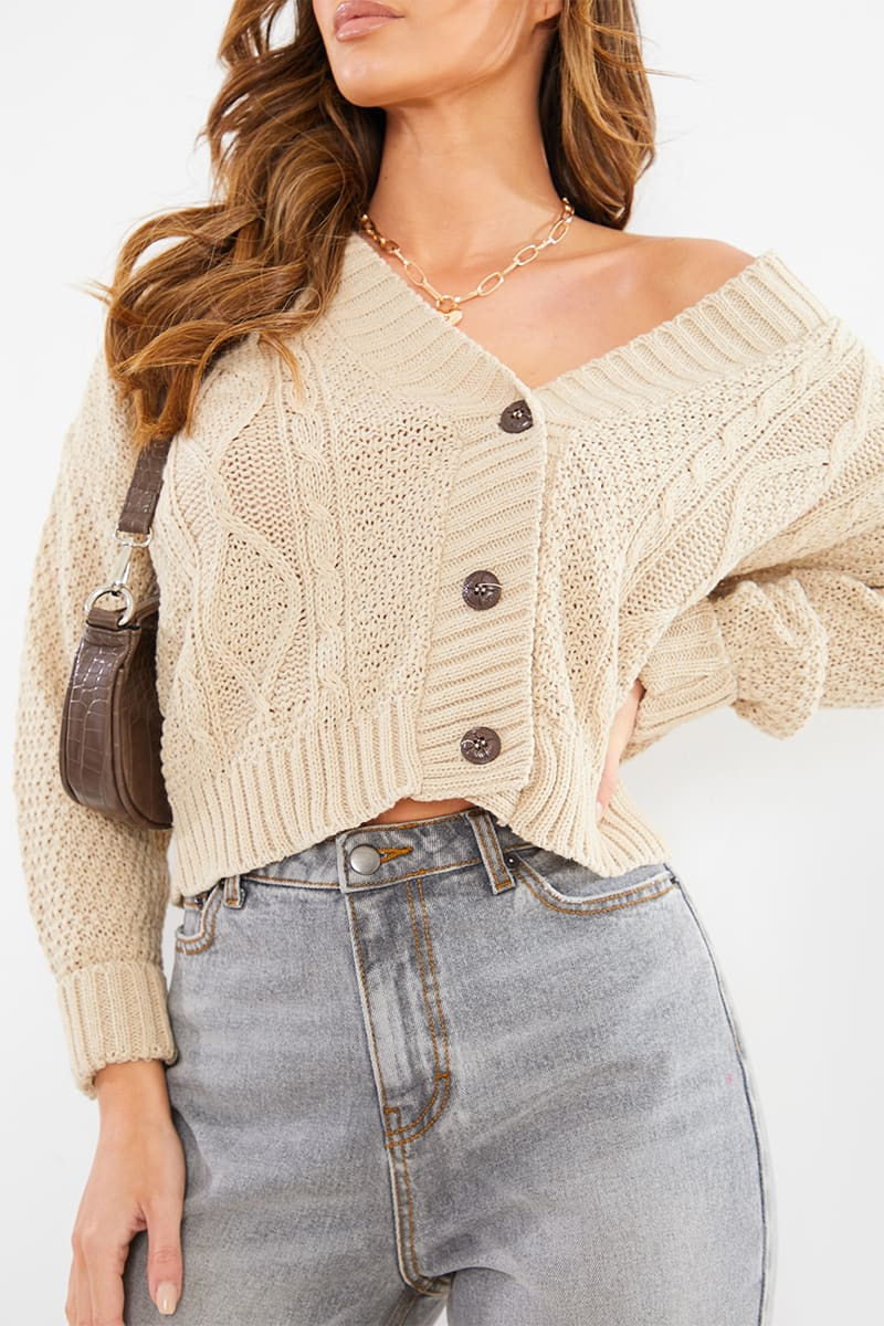 STONE BOYFRIEND CABLE CROP CARDIGAN