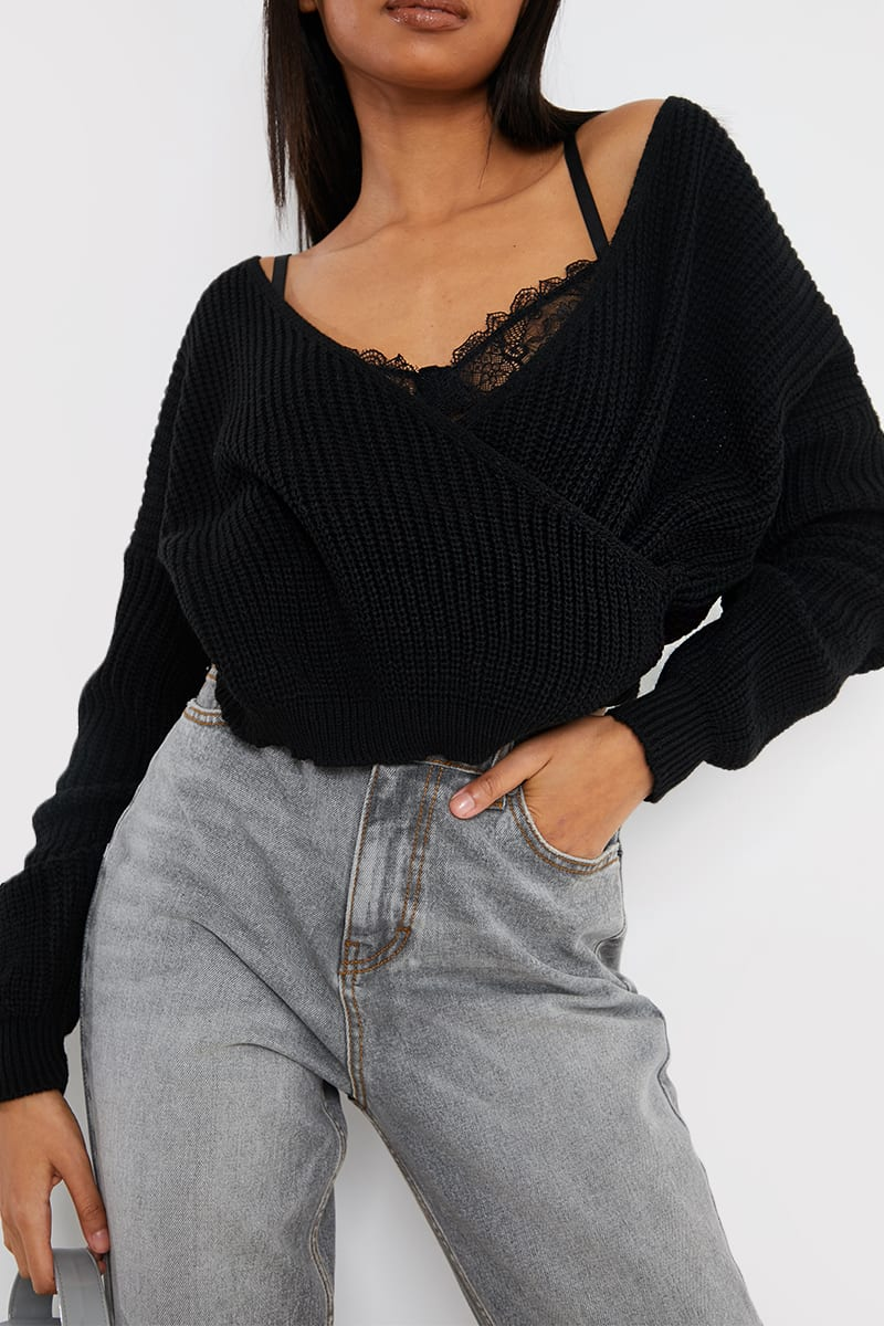 BLACK FRONT WRAP JUMPER