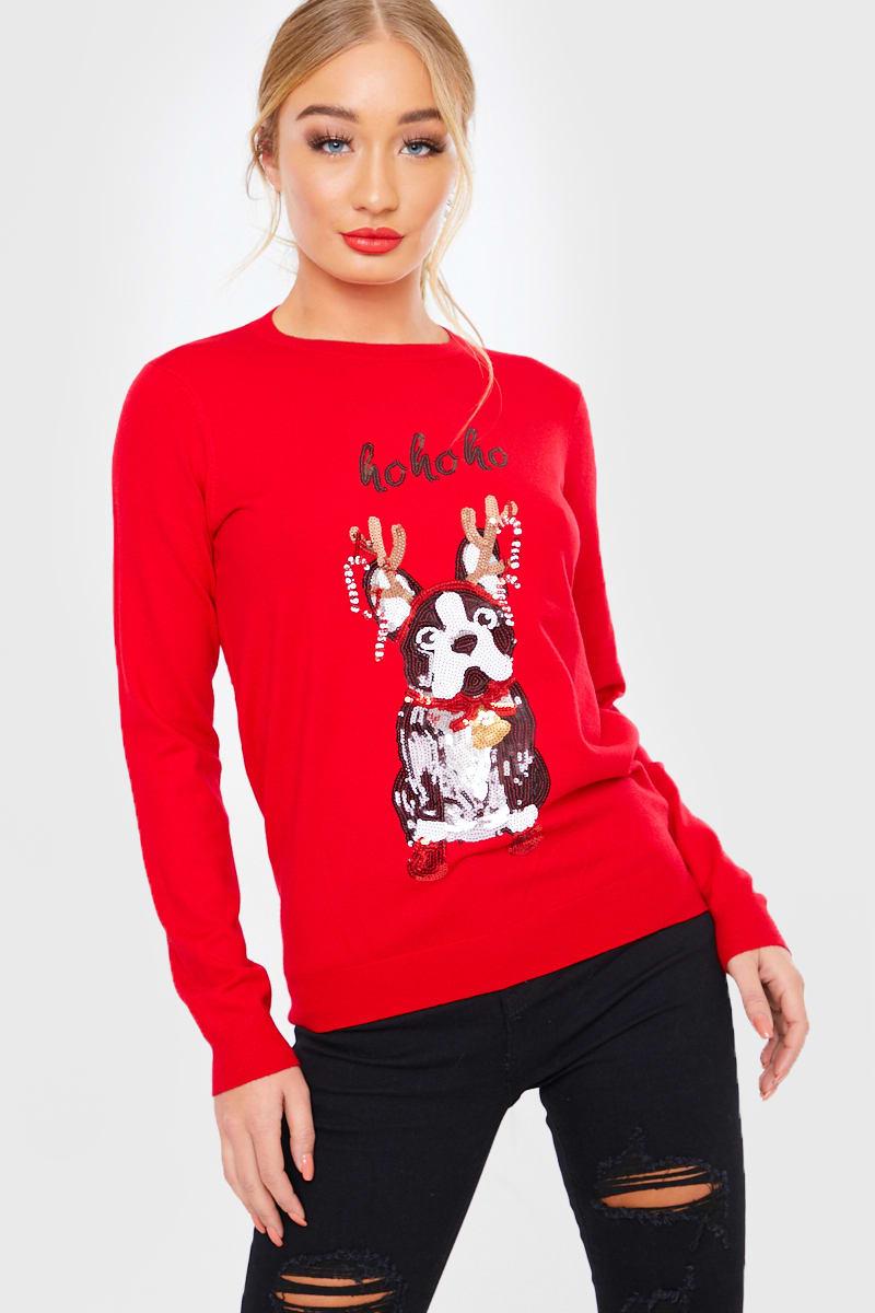 RED SEQUIN XMAS BULLDOG CHRISTMAS JUMPER