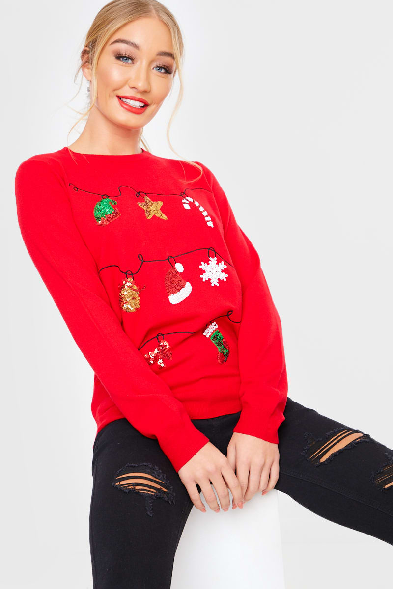 RED SEQUIN JINGLE BELLS CHRISTMAS JUMPER