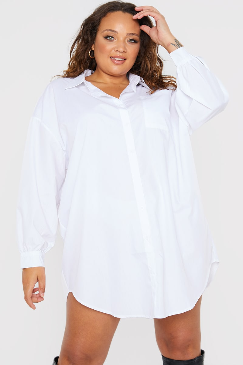 CURVE PERRIE SIAN WHITE OVERSIZED LAYERING POPLIN SHIRT