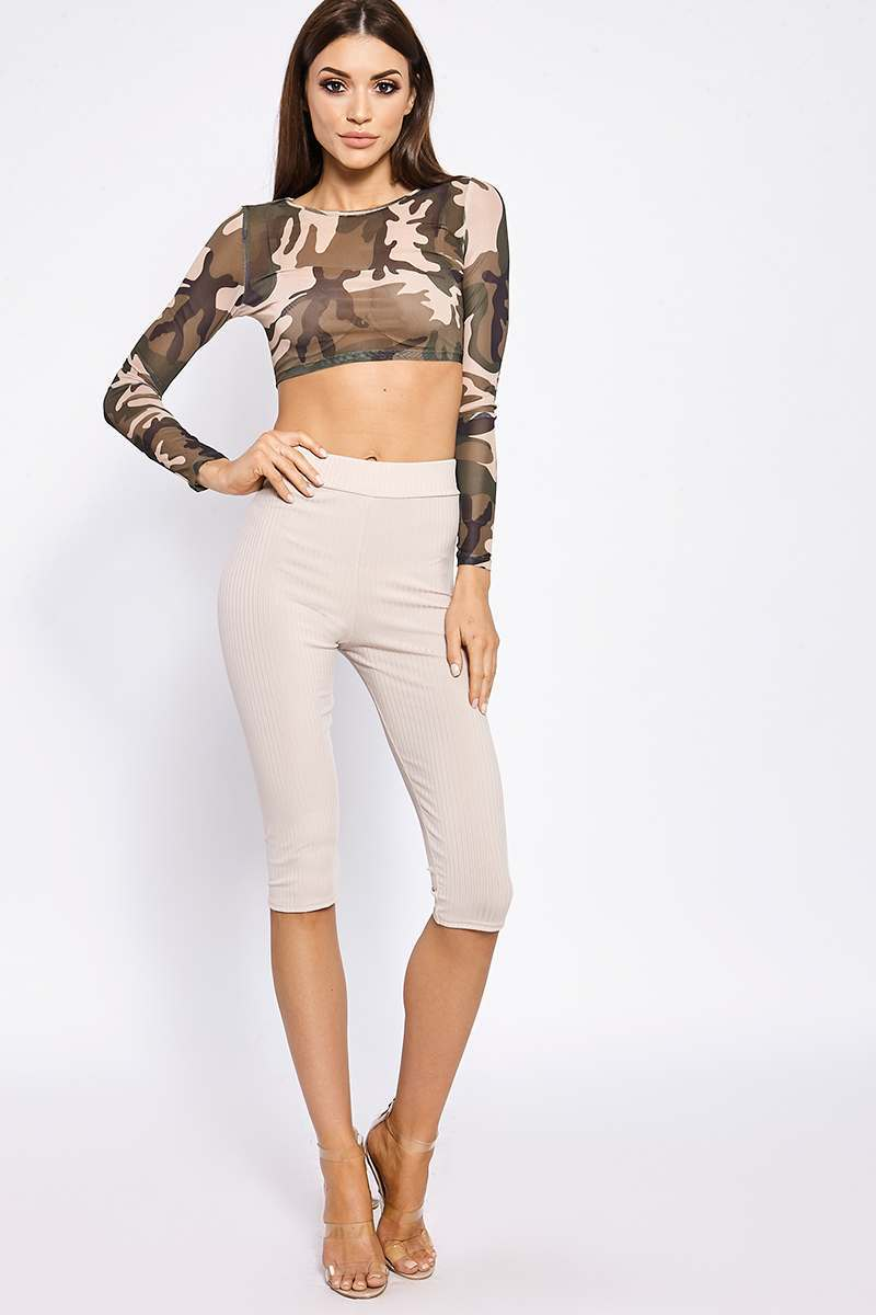 BASIC HIGH WAISTED STONE CROPPED RIBBED LEGGINGS