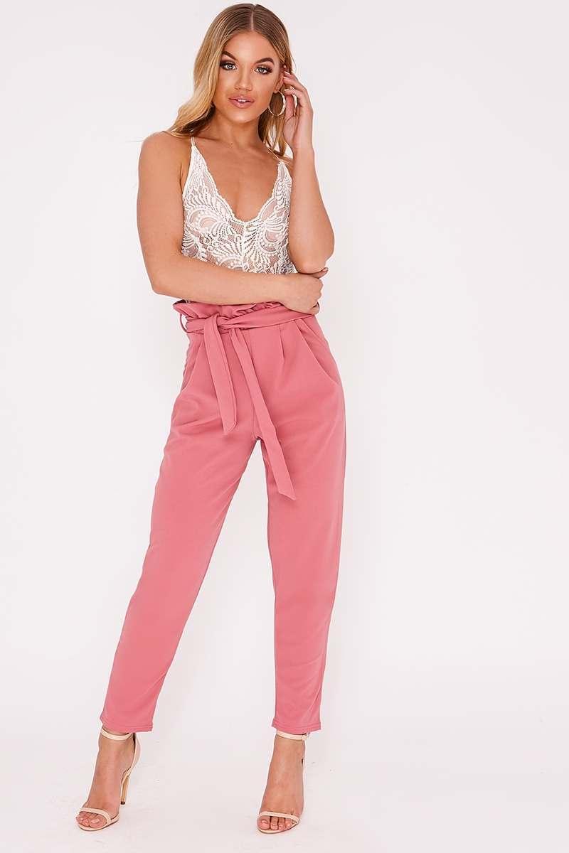 rose paperbag skinny trousers