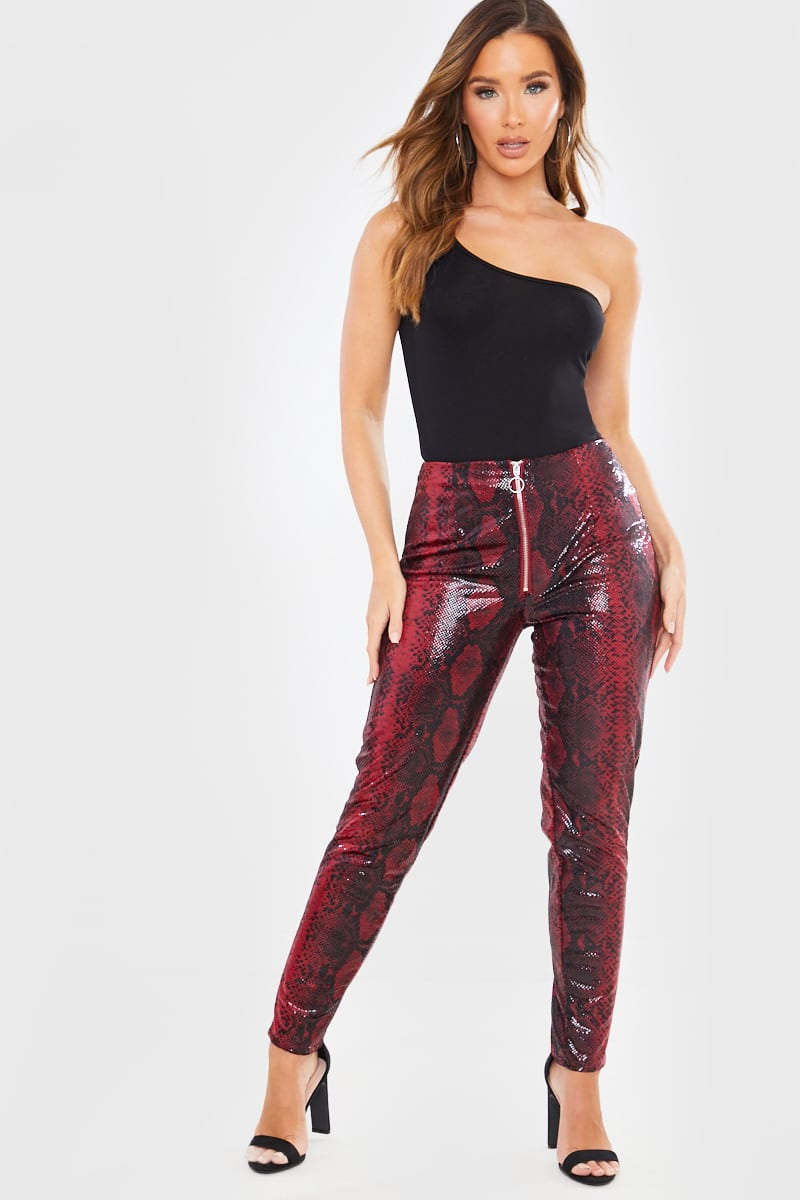 BURGUNDY HIGH WAIST SNAKE PRINT PU TROUSERS