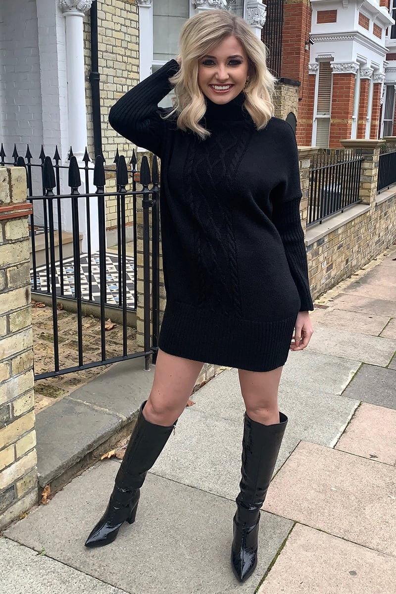 BLACK BATWING OVERSIZED JUMPER DRESS