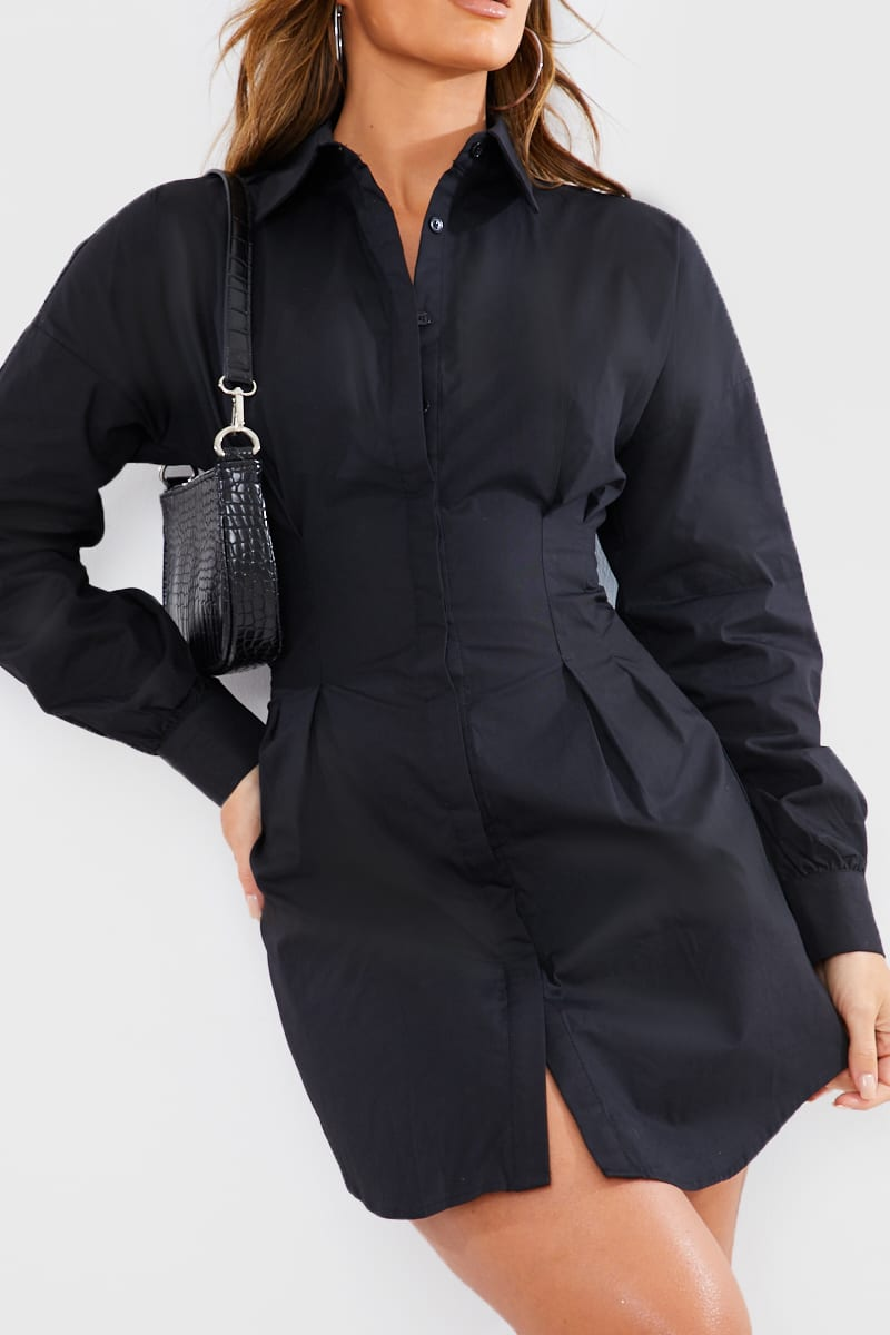 Black Button Down Corset Detail Mini Shirt Dress In The Style Usa