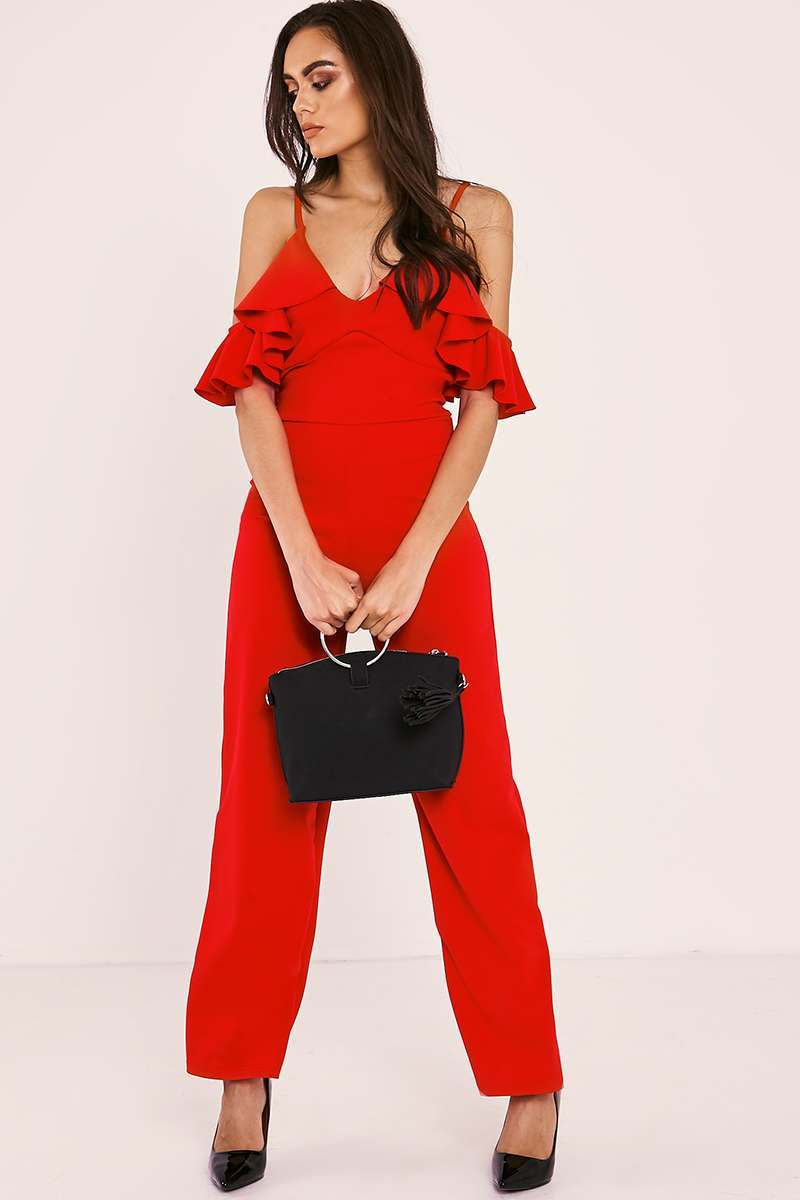 red frill strappy cold shoulder jumpsuit