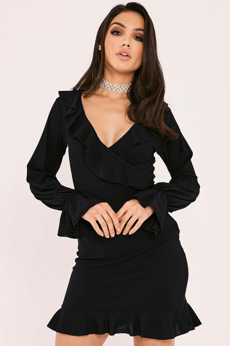 black wrap front long sleeve frill dress