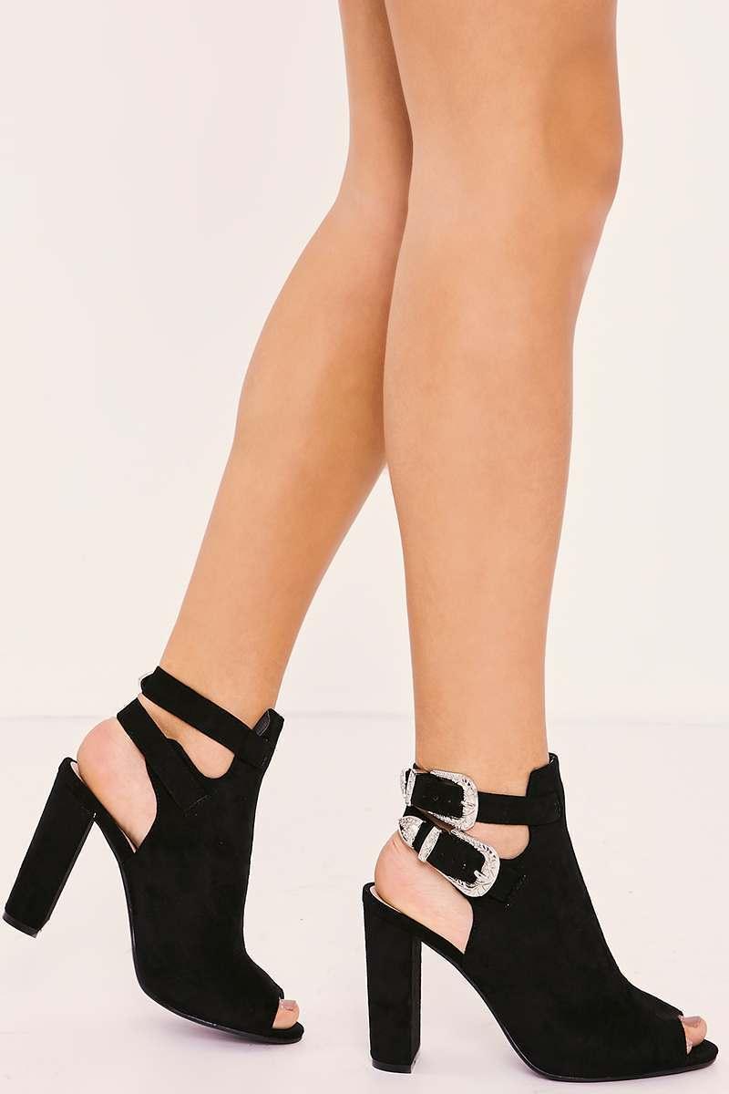 black faux suede western buckle heels