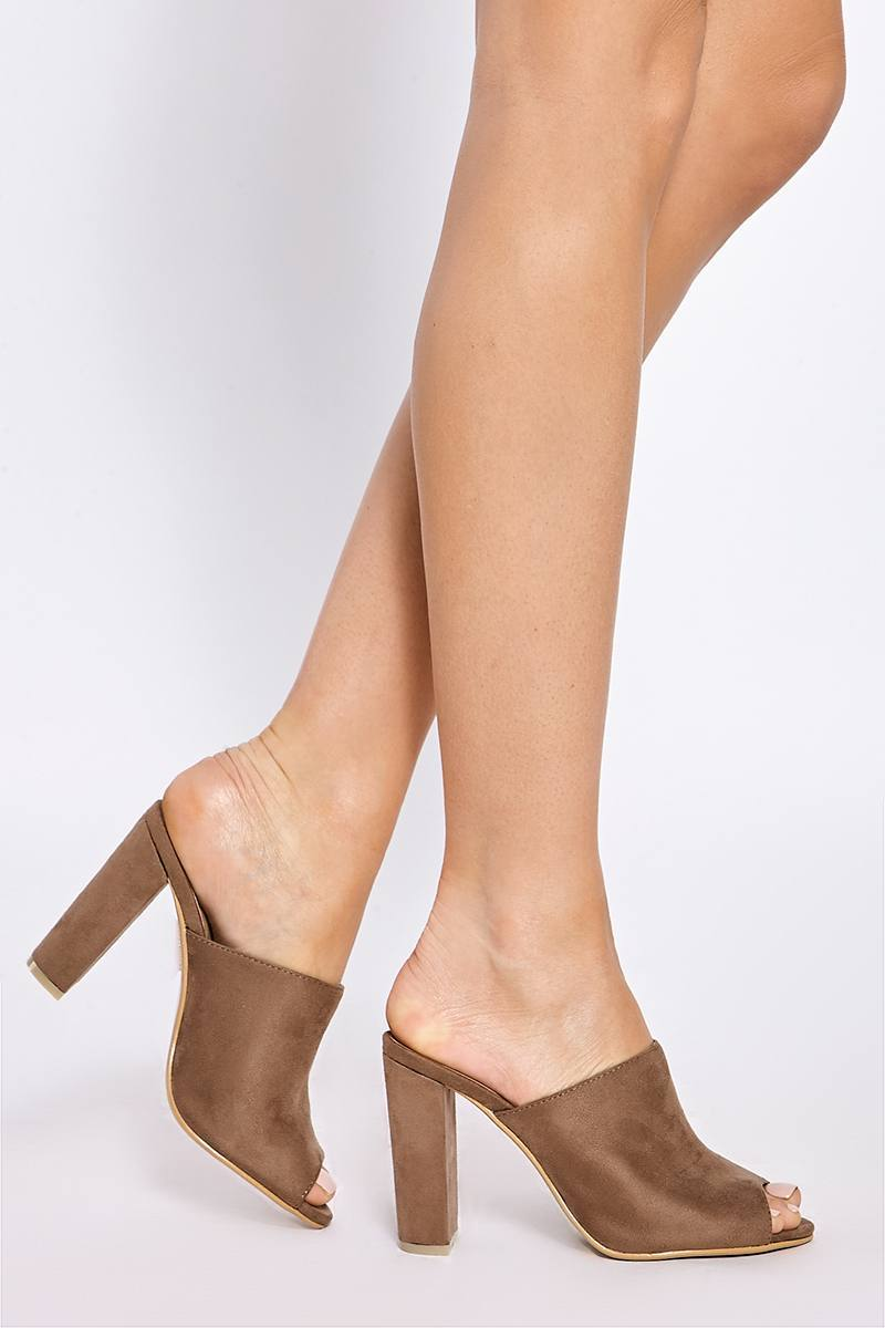 AISLEY MOCHA FAUX SUEDE HEELED MULES