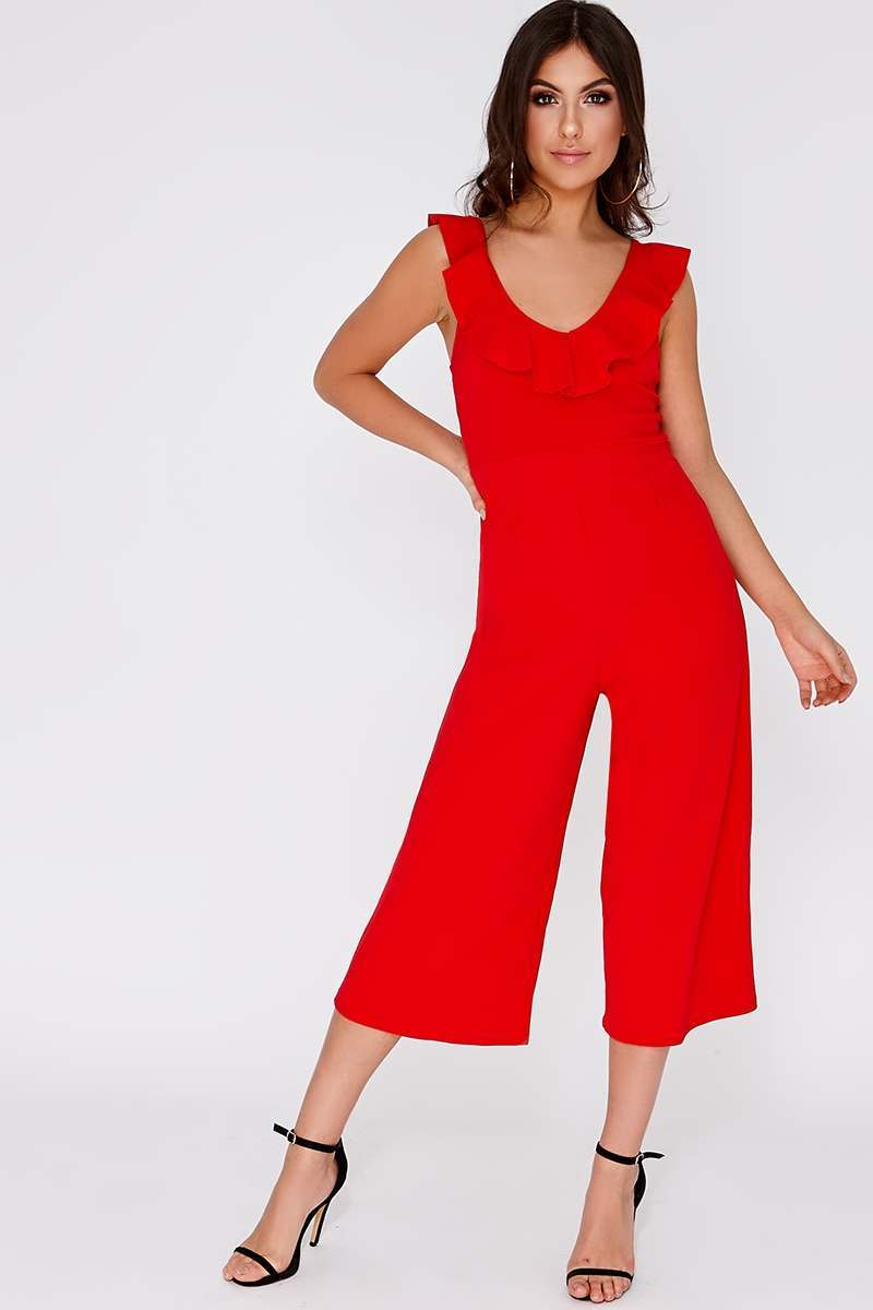red frill culotte jumpsuit