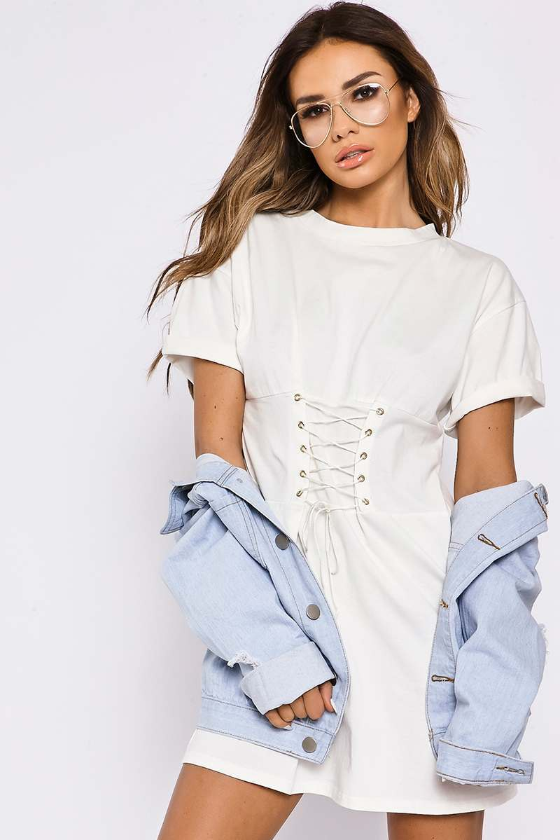 white lace up corset detail tee dress