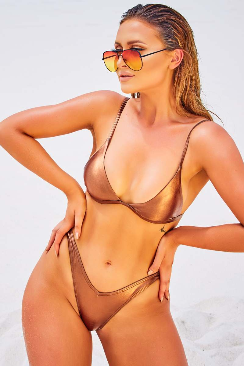 bronze triangle bikini top