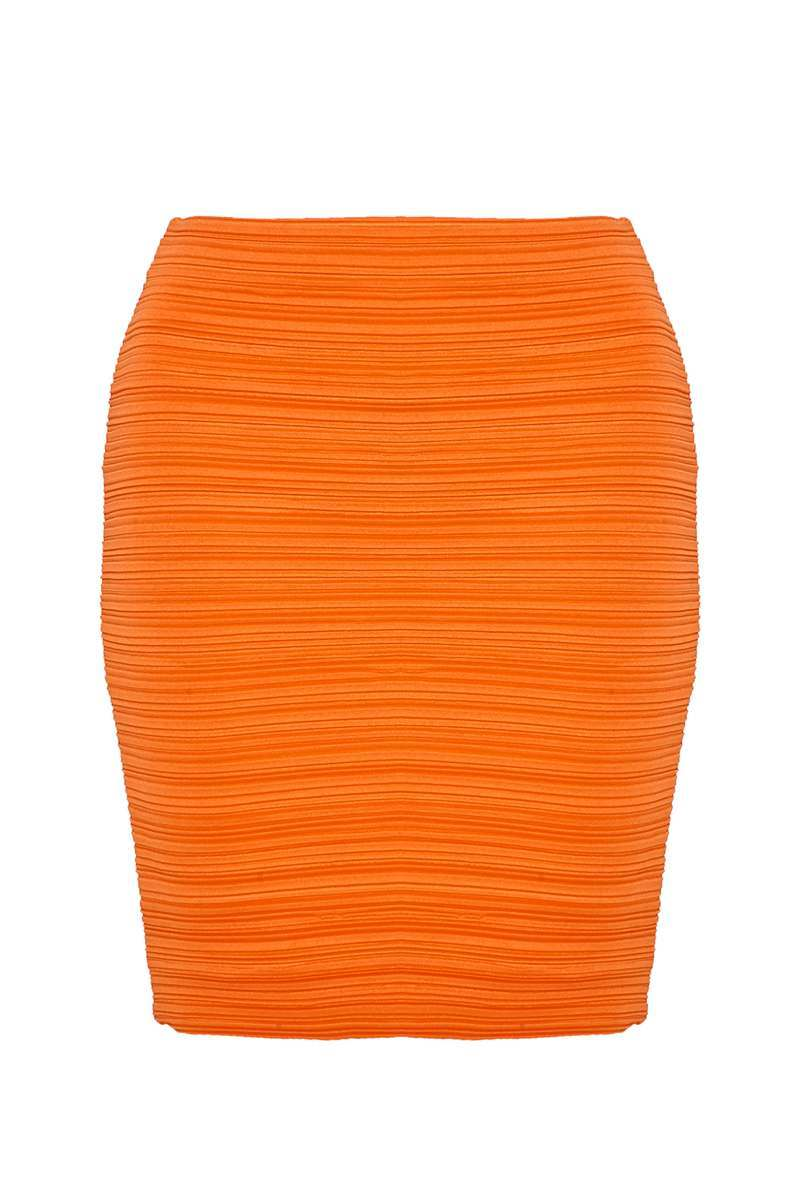 SARAH ASHCROFT ORANGE CRINKLE MINI SKIRT-6