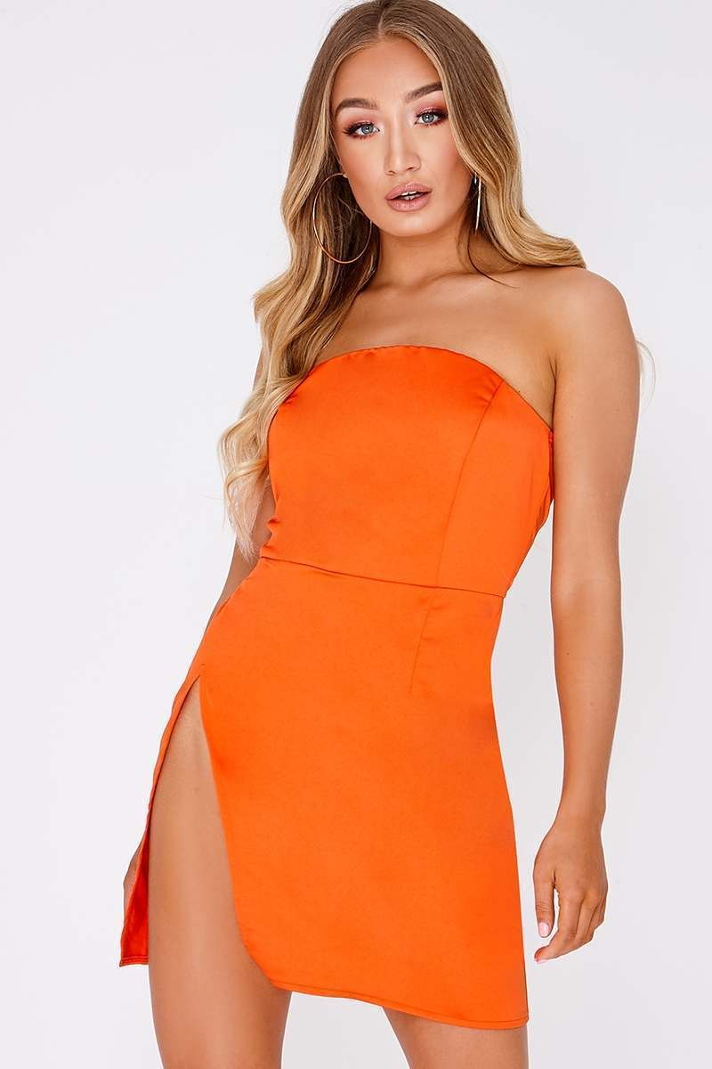 JASMYN HOT ORANGE BANDEAU THIGH SPLIT MINI DRESS