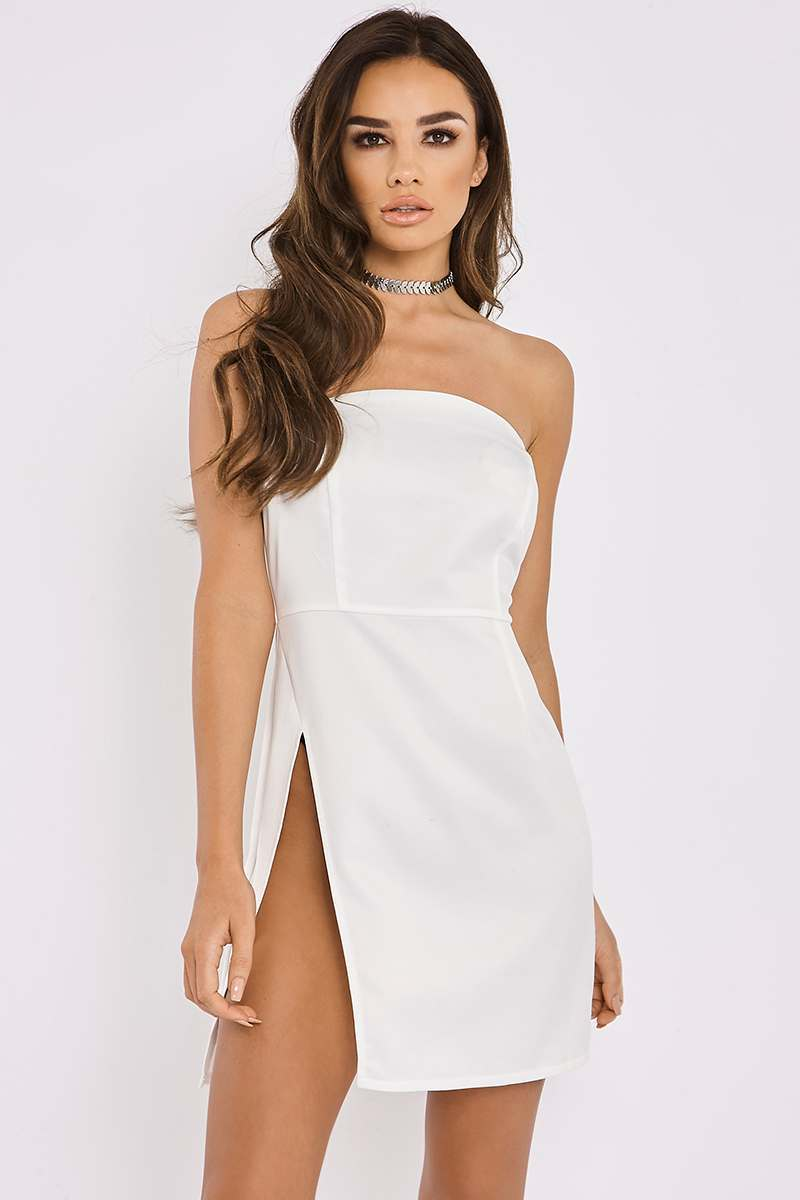 KEMI WHITE BANDEAU THIGH SPLIT MINI DRESS