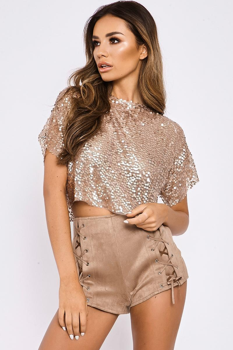 nude oversized sequin crop tee