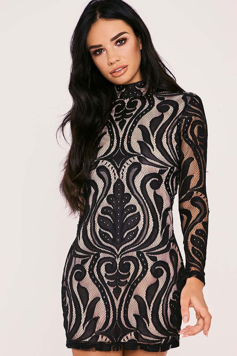 black flocked lace high neck mini dress