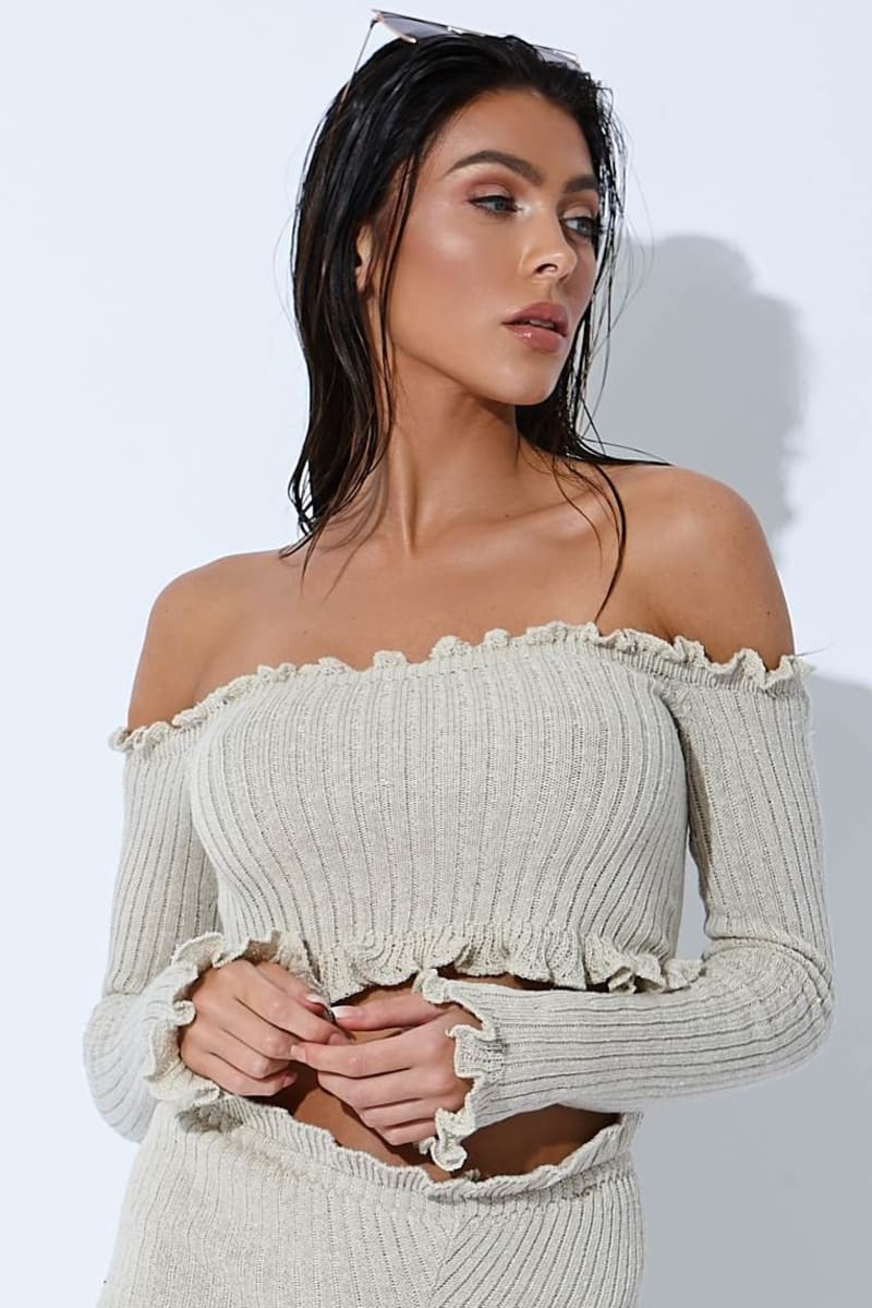 stone ribbed ruffle long sleeved bardot crop top