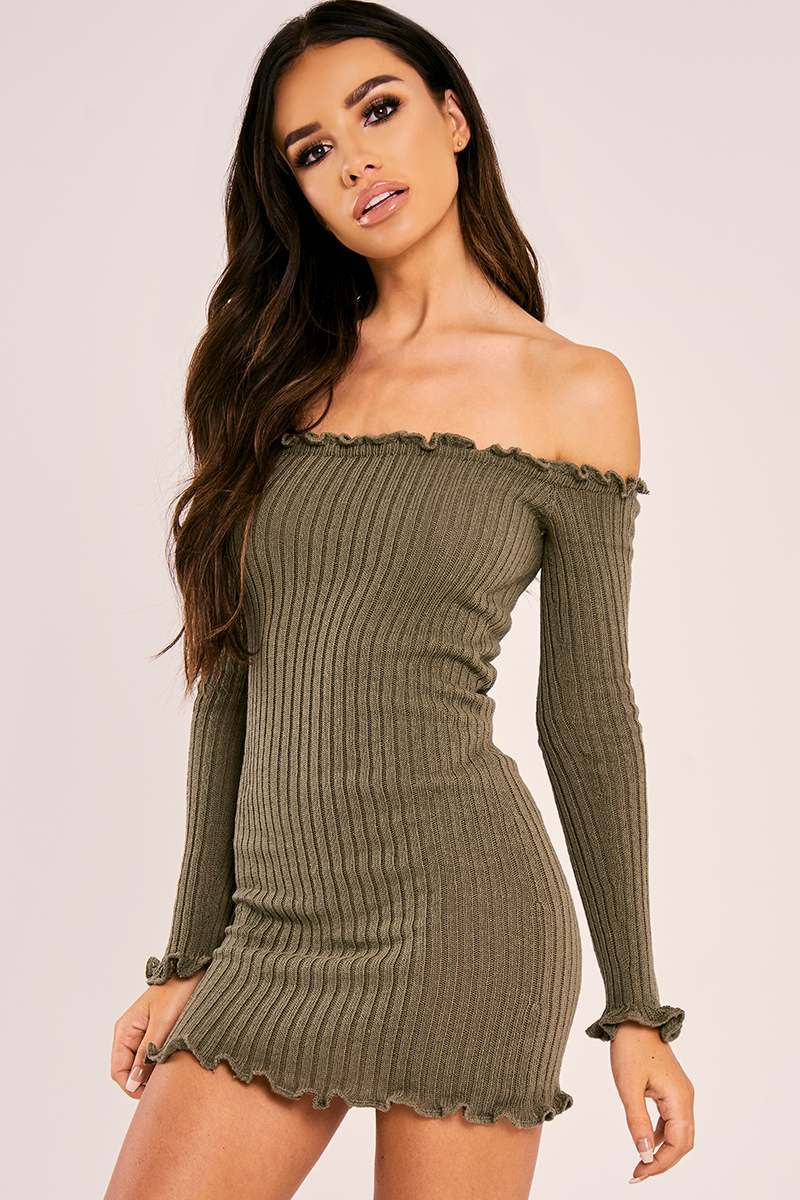 khaki ribbed ruffle long sleeve bardot dress