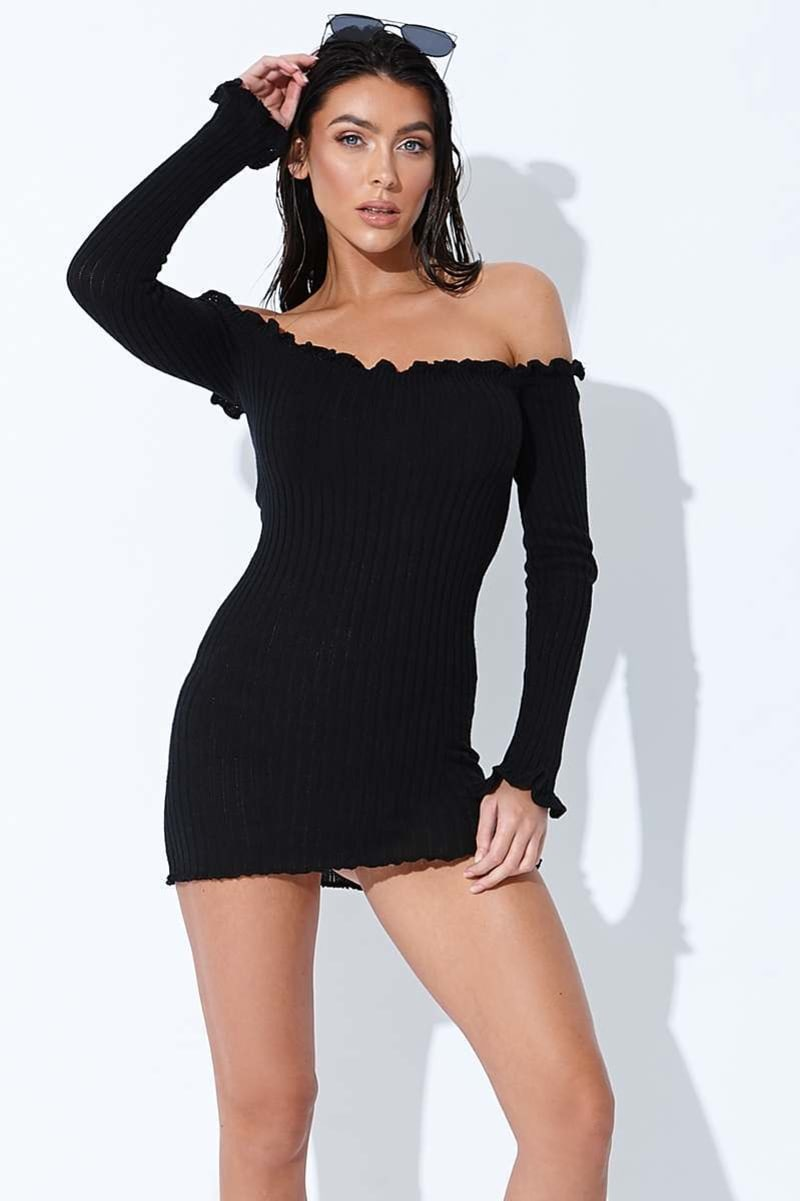 SARAH ASHCROFT BLACK RIBBED RUFFLE LONG SLEEVE BARDOT DRESS