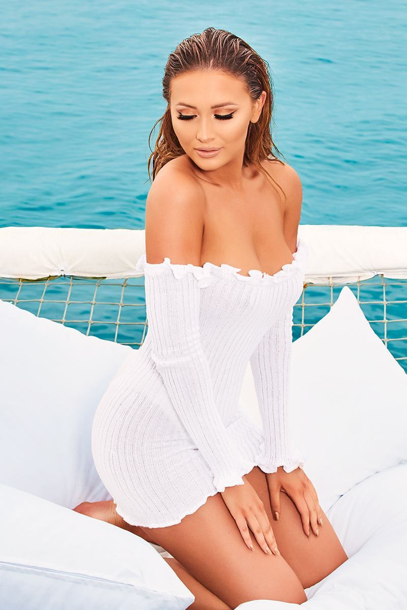 white ribbed ruffle long sleeve bardot dress
