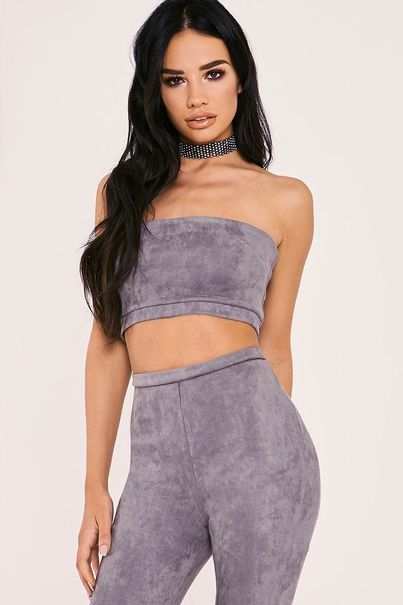 grey faux suede bandeau co-ord crop top