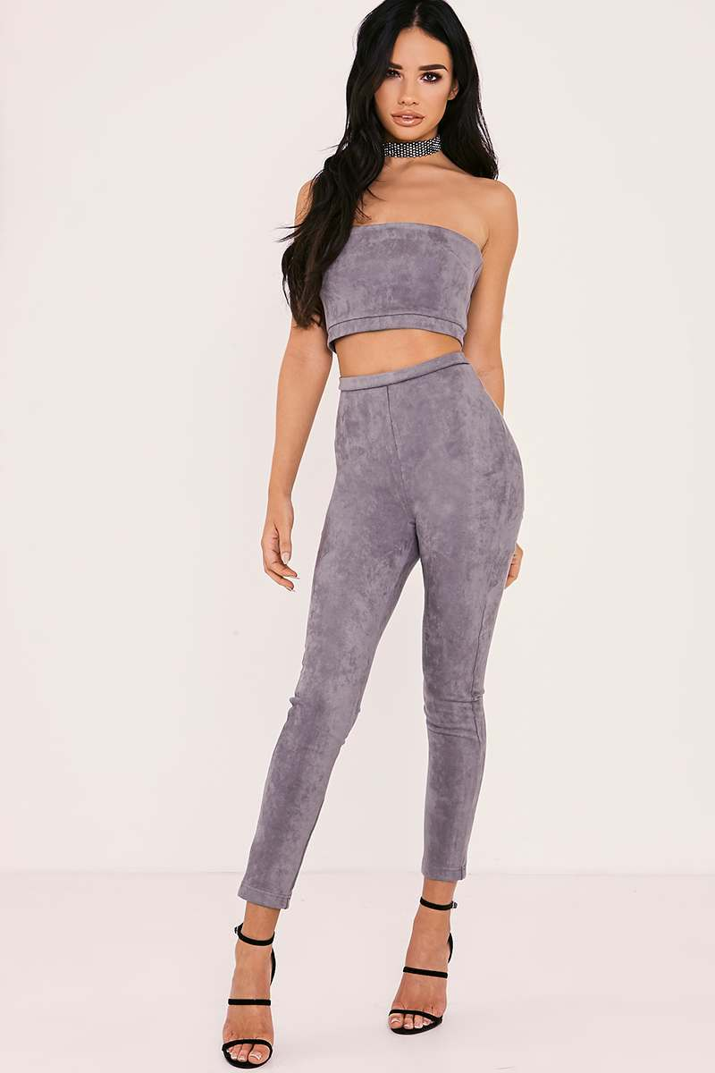 grey faux suede high waisted leggings