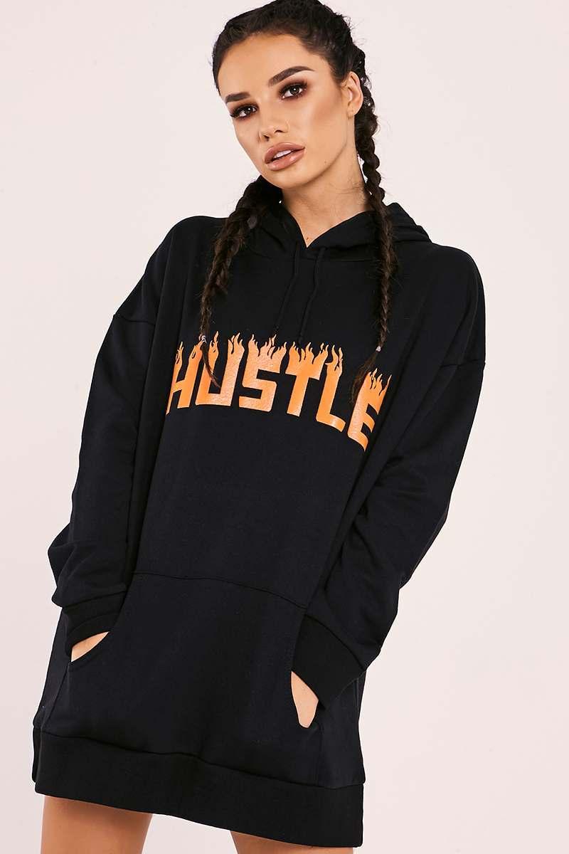 black hustle flame hoodie dress