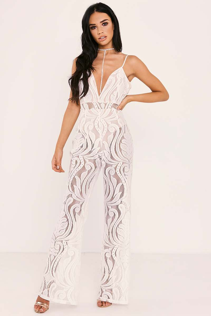 white flocked lace jumpsuit