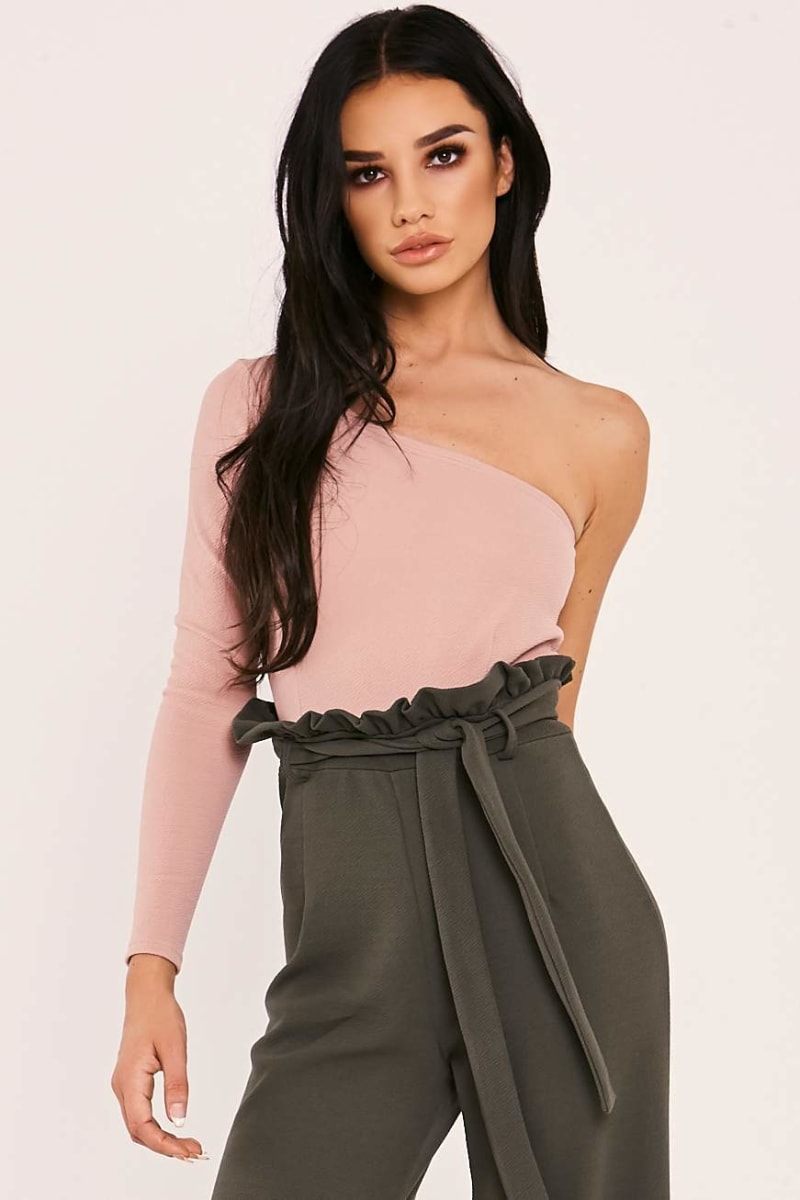 nude one sleeve bodysuit