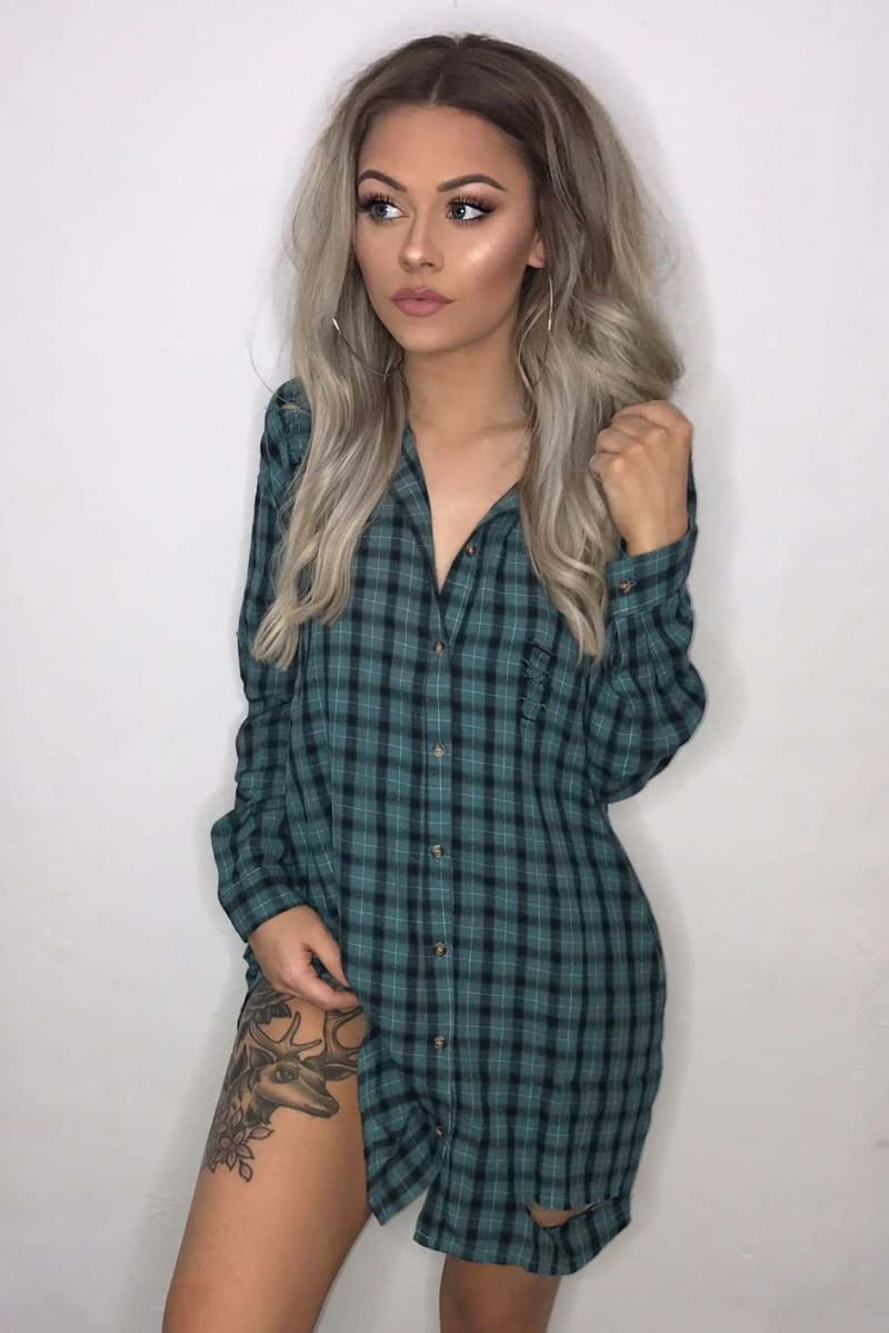 teal checked oversized shirt