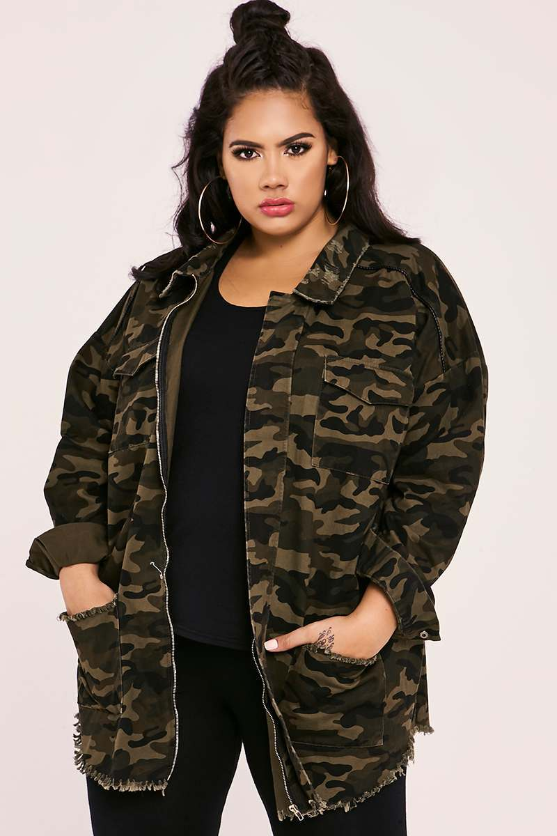 CURVE SARAH ASHCROFT KHAKI CAMO DISTRESSED TRIM OVERSIZED JACKET