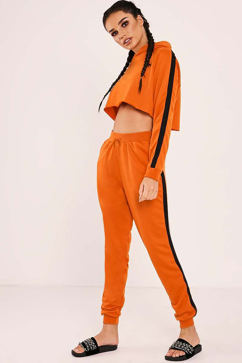 orange high waisted drawstring joggers