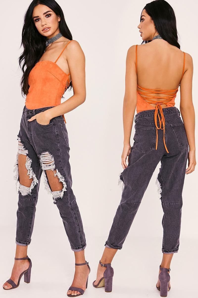 orange faux suede lace up back bodysuit