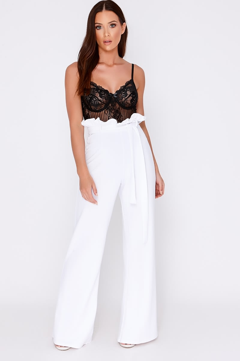 white flared high waisted paperbag trousers