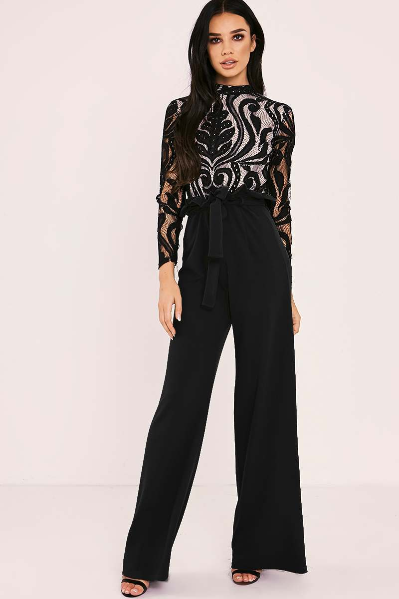 SARAH ASHCROFT BLACK FLARED HIGH WAISTED PAPERBAG TROUSERS