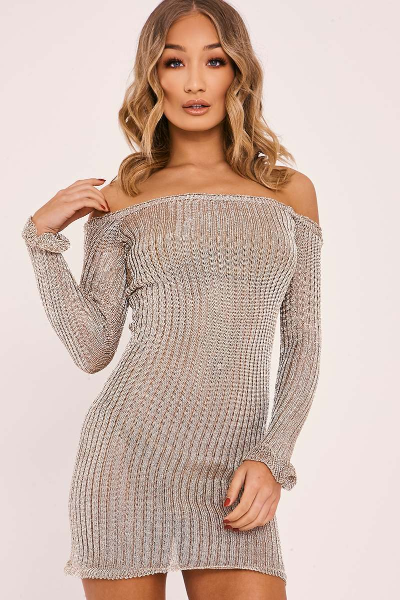 SARAH ASHCROFT GOLD METALLIC RIBBED BARDOT LONG SLEEVE MINI DRESS