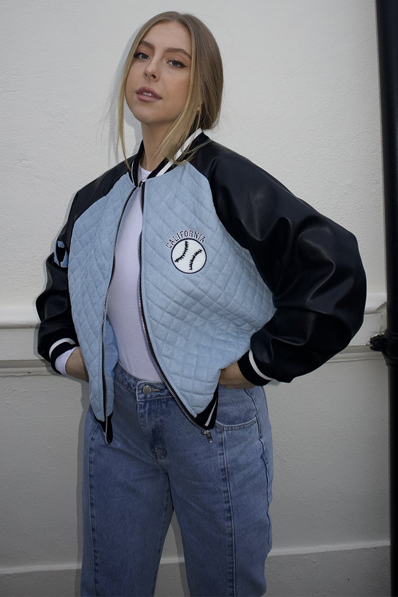 SYD AND ELL BLUE QUILTED VARSITY BOMBER JACKET