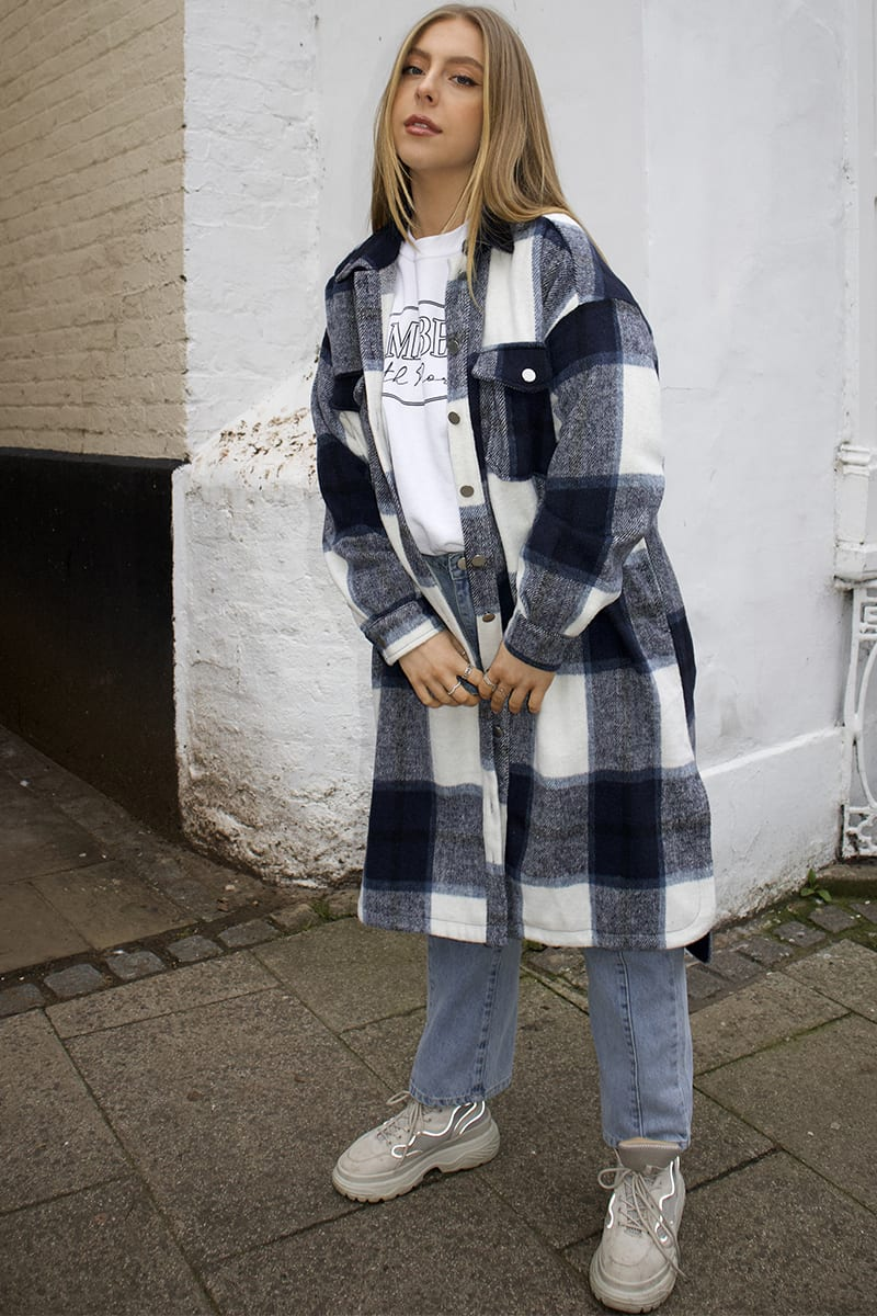 SYD AND ELL NAVY CHECK LONGLINE SHACKET