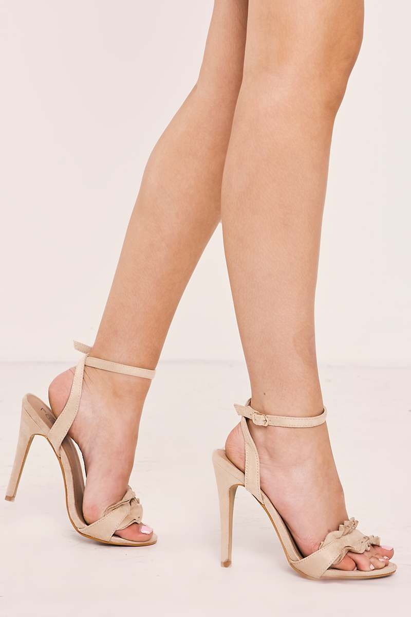 TEXANA NUDE FAUX SUEDE FRILL STRAPPY BARELY THERE HEELS