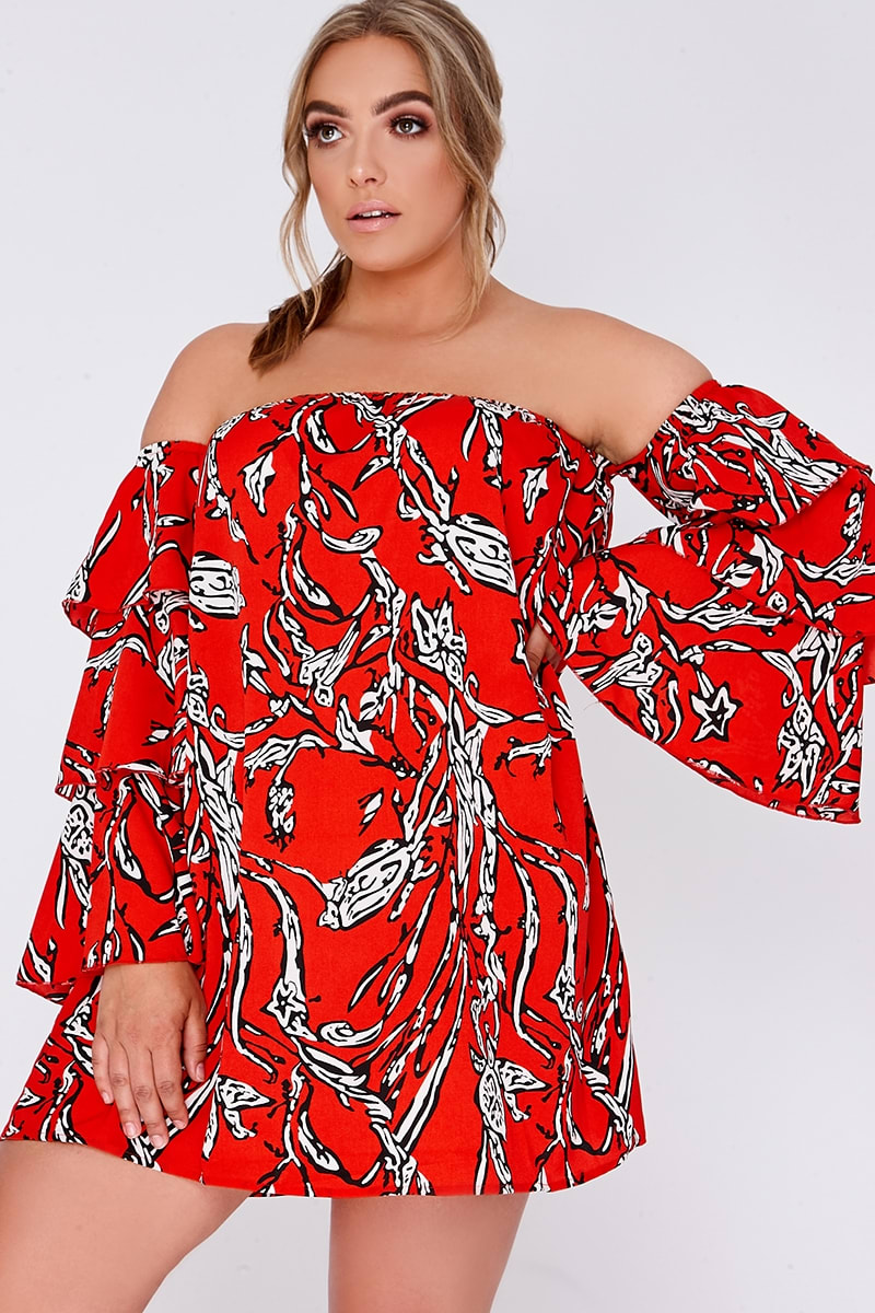 CURVE BILLIE FAIERS RED ABSTRACT FLORAL TIERED FRILL SLEEVE MINI DRESS