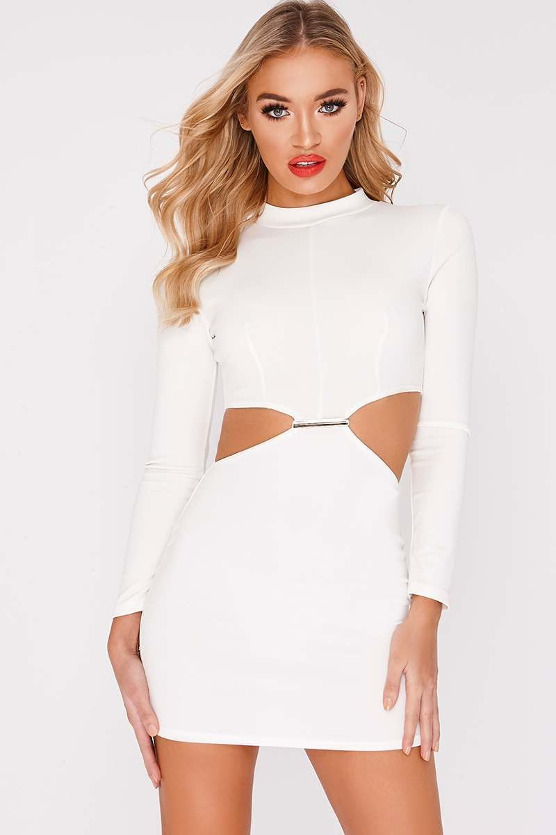 BILLIE FAIERS WHITE LONG SLEEVED CUT OUT WAIST METAL TRIM MINI DRESS