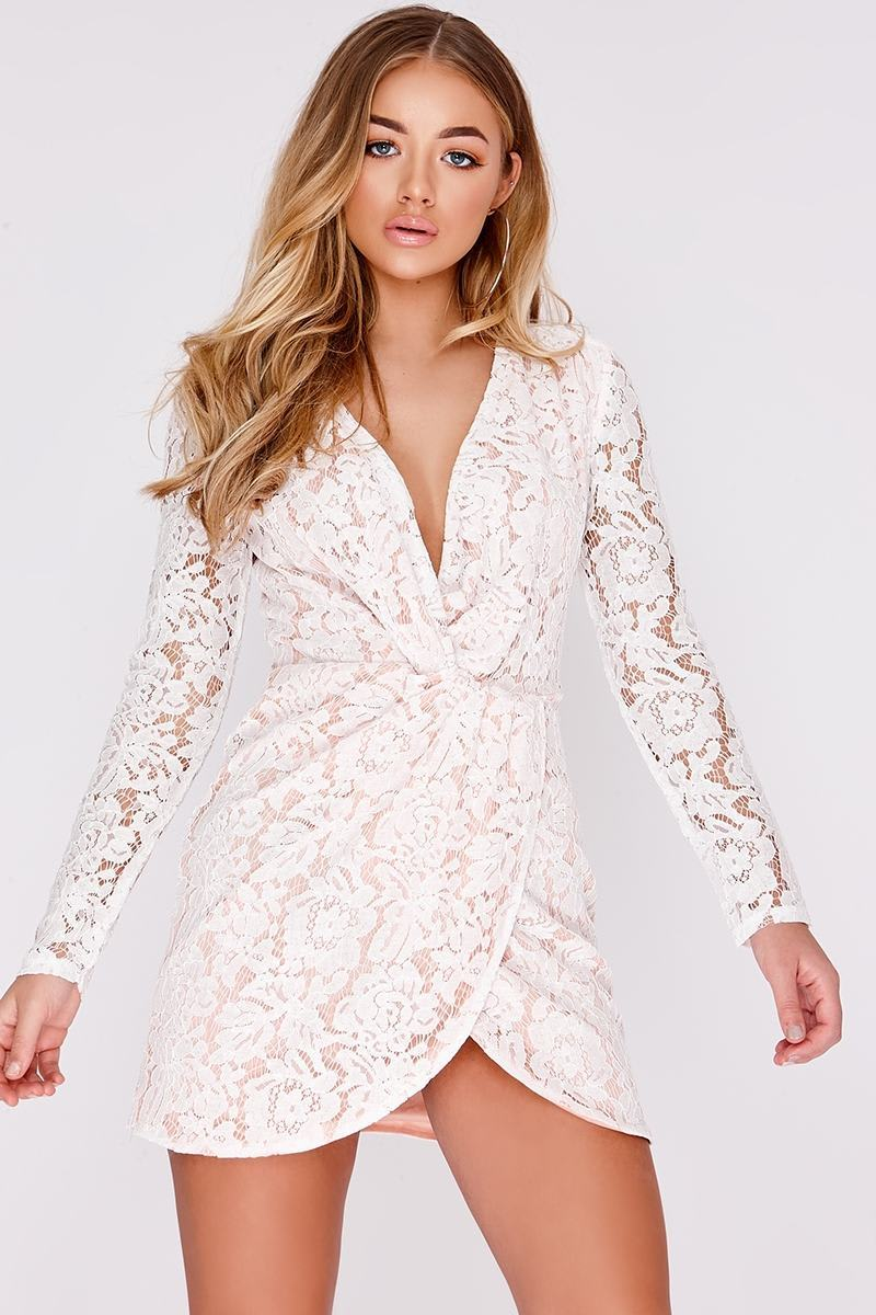 BILLIE FAIERS WHITE TWIST FRONT LACE DRESS