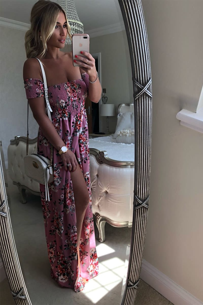 BILLIE FAIERS PINK FLORAL BARDOT MAXI DRESS