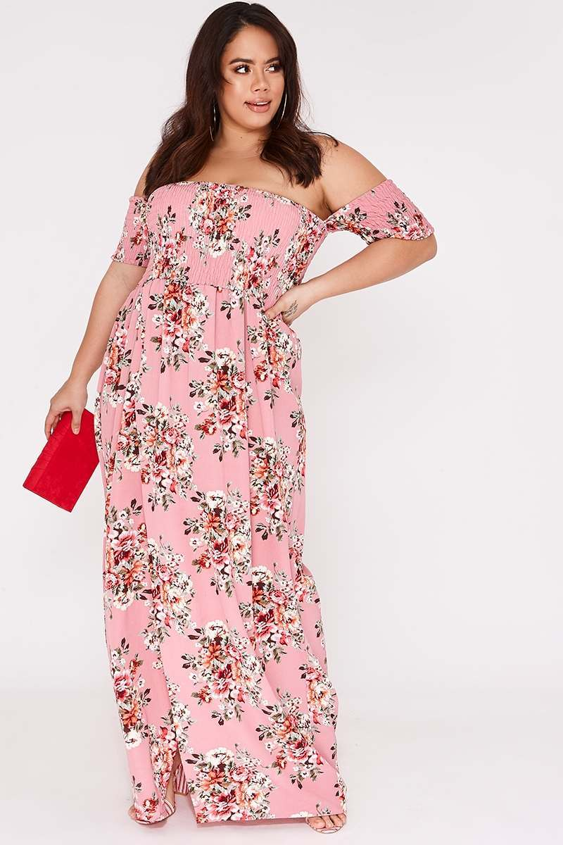 CURVE BILLIE FAIERS PINK FLORAL BARDOT MAXI DRESS
