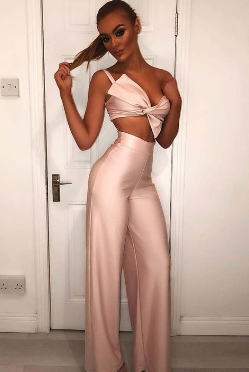 BILLIE FAIERS BLUSH TWIST FRONT CROP TOP